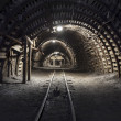 Underground tunnel in the coal mine - Stock Photo