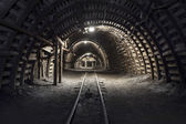 Underground tunnel in the coal mine — Stock Photo