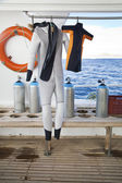 Diving Suits for Parent and Child — Stock Photo