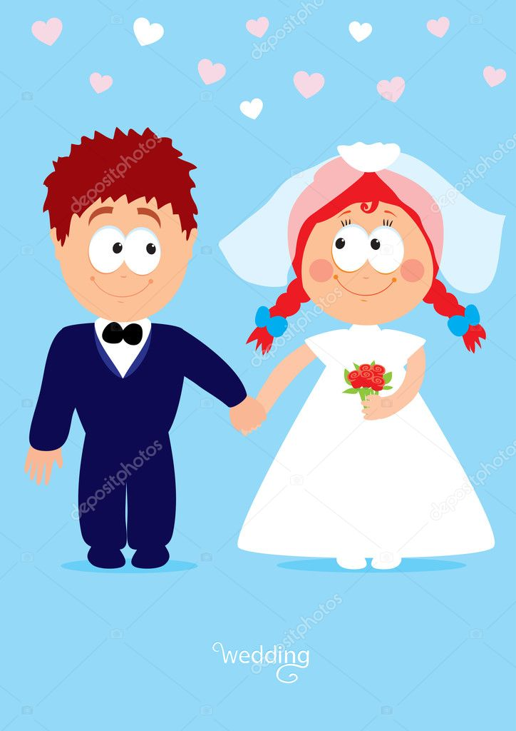 Funny characters the bride and groom vector illustration — Stock Vector #8389750