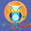 Stock Vector: Owl night