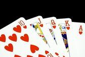 Royal flush of hearts — Stockfoto