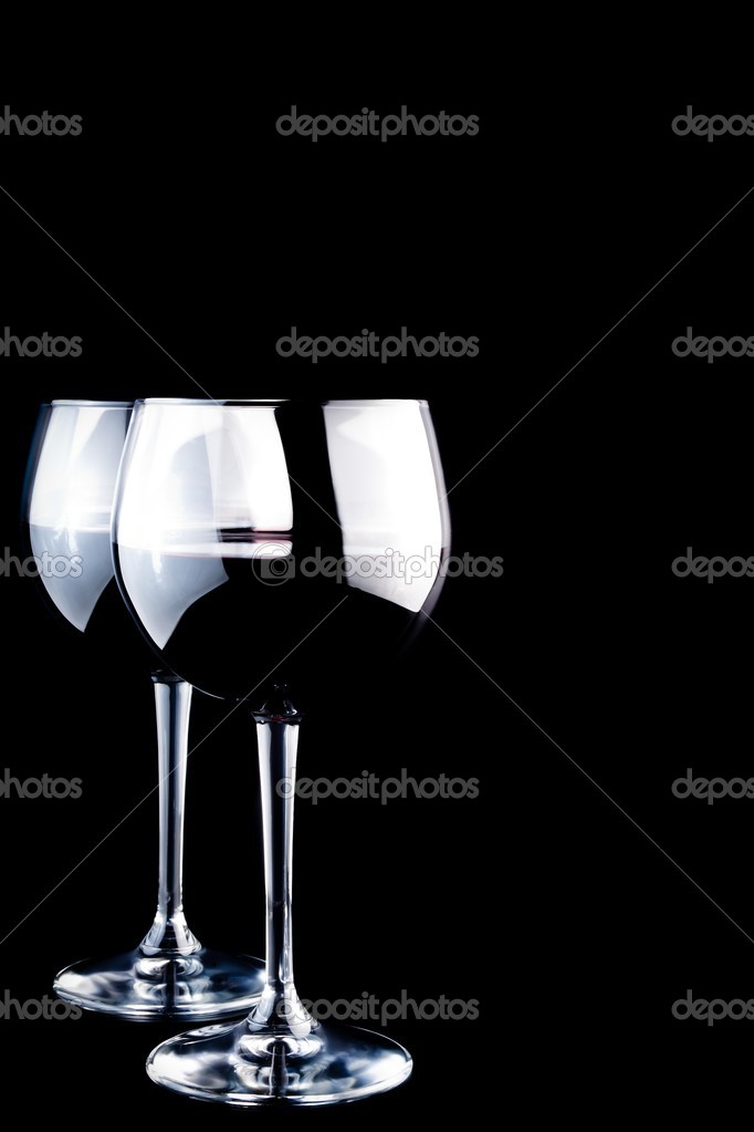 Two glasses of wine on black background — Stock Photo #8445322