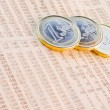 Euro coins on the financial newspaper — Stock Photo