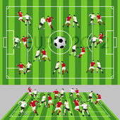 Football Field with Ball and Players — Stock Vector