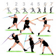 Stock Vector: Javelin Athletes Set