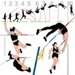 Stock Vector: Pole Vault Athletes Set