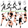 Long Jump Silhouettes Set - Stock Vector