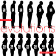Men obesity evolution and pregnancy stages — Stock Vector #9624341