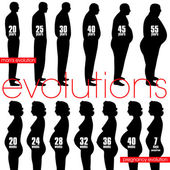 Men obesity evolution and pregnancy stages — Stock Vector