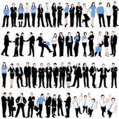 60 Business Silhouettes Set isolated on white background — Stock Vector