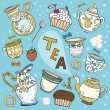 Royalty-Free Stock Vector Image: Cartoon Victorian tea set