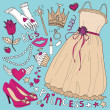 Princess fashion set — Stock Vector
