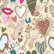 Retro seamless sweetheart pattern — Imagen vectorial