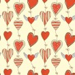 Seamless cartoon romantic pattern with hearts — Stock Vector
