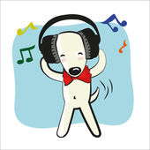 Cartoon funny dog in big headphones — Stock Vector