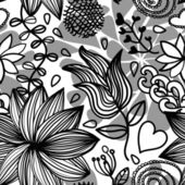 Seamless floral pattern bw — Stock Vector