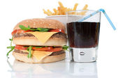 Hamburger, fries and cola drink — Stock Photo
