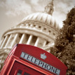 London phone box and St Paul's — Stock Photo