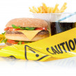 Unhealthy food caution - Foto de Stock