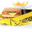 Unhealthy food caution - Stock Photo