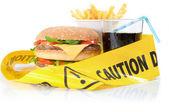Unhealthy food caution — Stock Photo