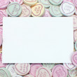Blank card with love hearts — 图库照片
