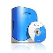 Caja azul software — Vector de stock