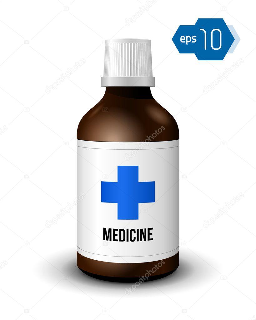 Brown medicine bottle - stock illustration