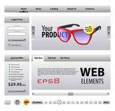 Mükemmel web elemanları şablon tasarım gri — Stok Vektör