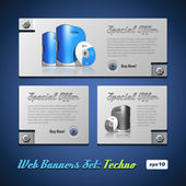 Techno Banner Set — Stock Vector