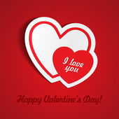 Double Red Heart Paper Sticker With Shadow Valentine's day — Stockvector