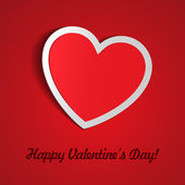 Red Heart Paper Sticker With Shadow Valentine's day — Vettoriale Stock