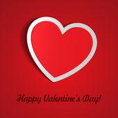 Rojo etiqueta de papel del corazón con la sombra día de san valentín — Vector de stock