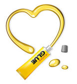 Yellow Glue Heart From Tube Valentine's Day — Stock Vector