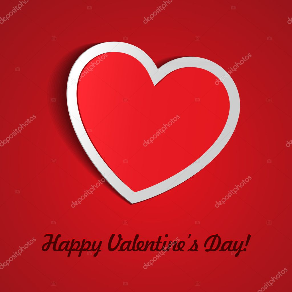 Red Heart Paper Sticker With Shadow Valentine's day vector illustration Postcard eps 10 — Stock Vector #8788328