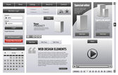 Gray Business Web Design Elements — Vetor de Stock