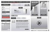éléments de conception web affaires gris — Vecteur