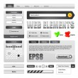 Hi-End Grayscale Web Interface Design Elements — Imagen vectorial