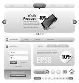 Neo Cool Gray Graphite Website Design Elements — Stock Vector