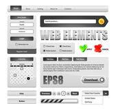 エンドツー エンドのグレースケール web インターフェイス デザインの要素 — ストックベクタ