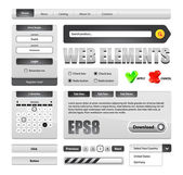 Hi-End Grayscale Web Interface Design Elements — Vettoriale Stock