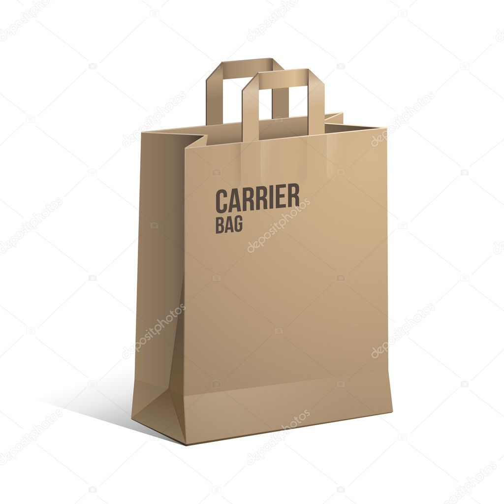 Carrier Paper Bag Brown Empty eps 10  — Stock Vector #9197410