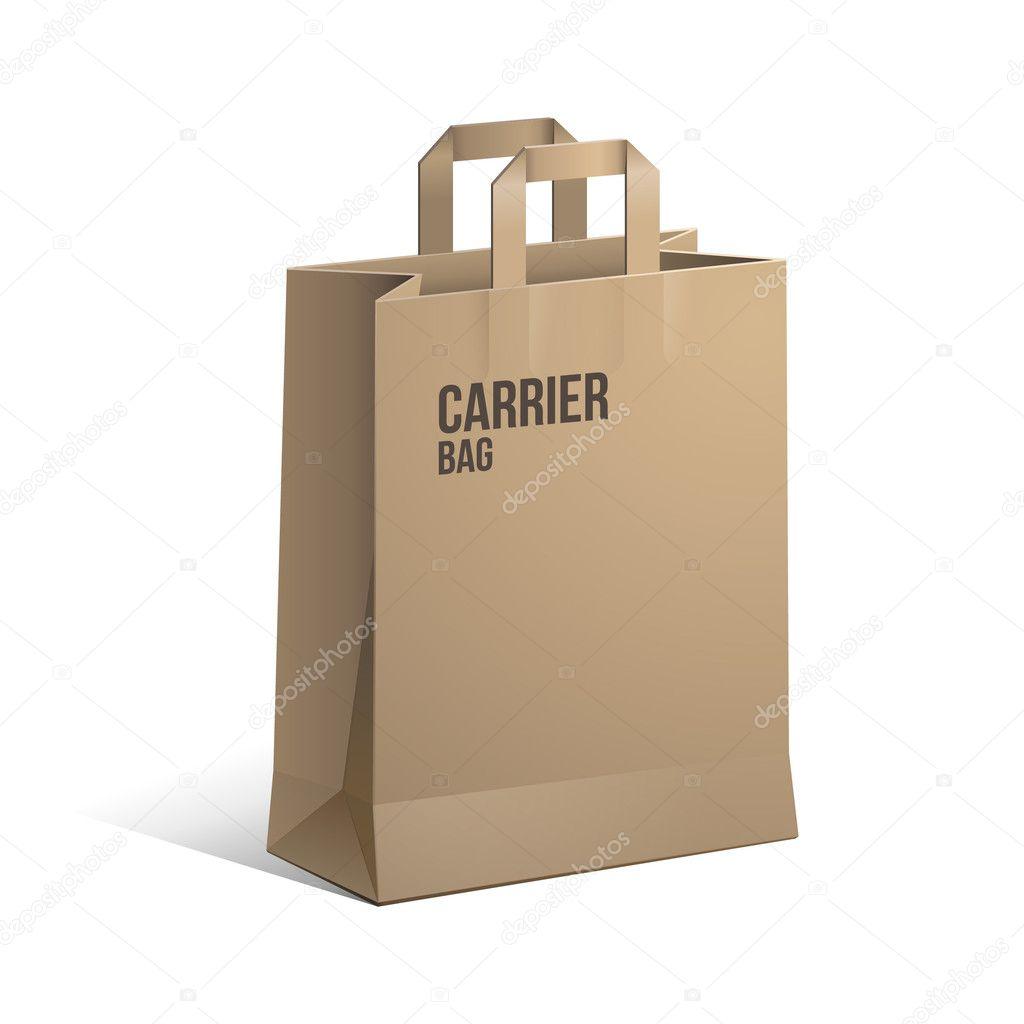 Paper bag vector - Carrier Paper Bag Brown Empty Eps 10 Vector By Semenchenko
