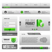Modern Clean Website Design Elements Grey Green Gray — Vettoriale Stock