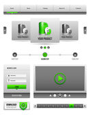 Modern Clean Website Design Elements Grey Green Gray 2 — Stockvektor