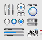 Web UI Elements Design Gray Blue — Stock Vector