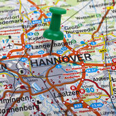 Map pin indicating the location of Hannover in Germany. — Stock Photo