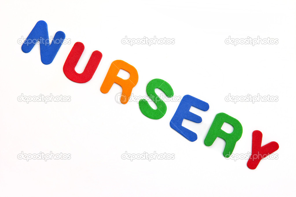 'Nursery' spelt out in multi-coloured lettering.  Stock Photo #8727810