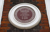 Samuel Johnson Plaque on Johnson House in London — Stock Photo